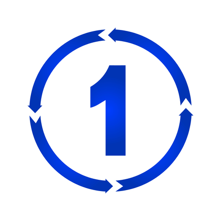 Number 1 sign turn icon. vector illustration. flat style