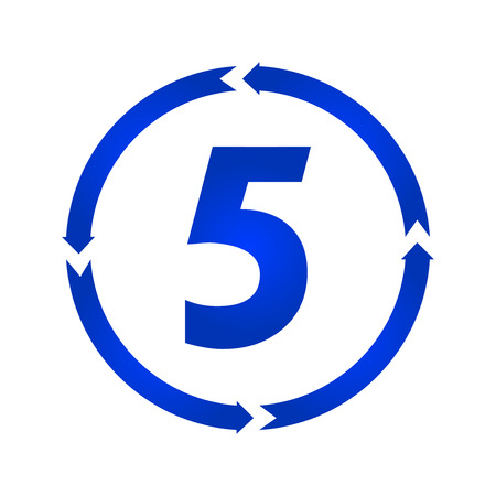 Number 5 sign turn iconvector illustration. flat style
