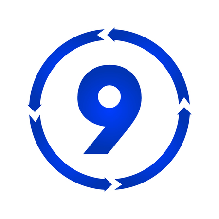 Number 9 sign turn iconvector illustration. flat style