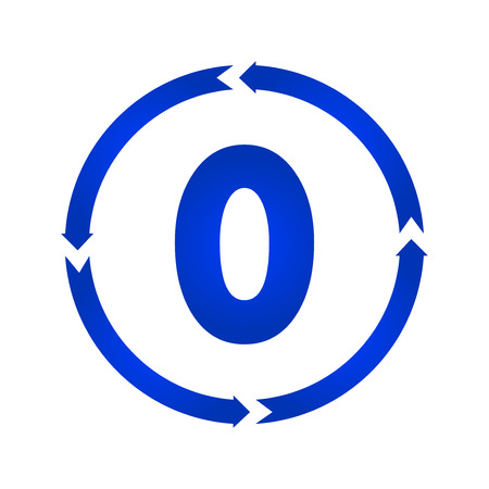 Number 0 sign turn icon. vector illustration. flat style