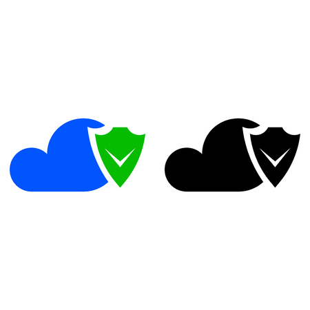 Cloud security icon. Data protection flat icon