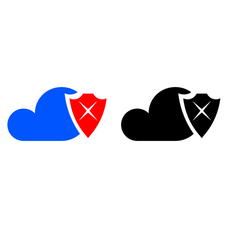 Cloud security icon, poor information protection flat icon.