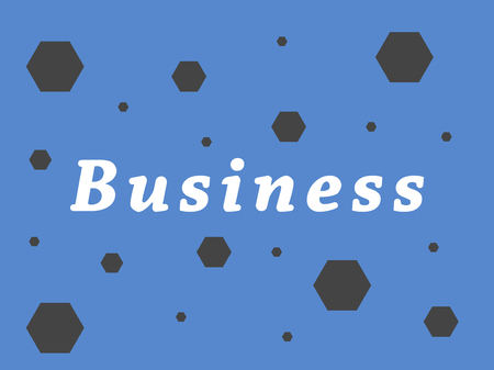 Business inscription on a blue background