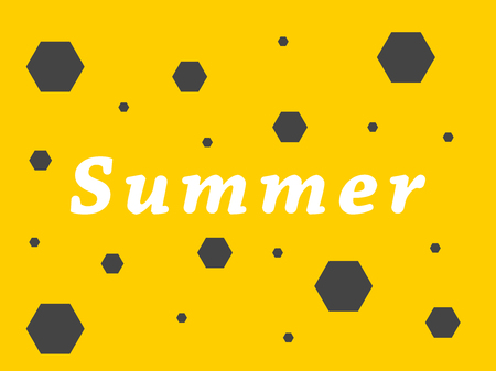 Summer inscription on a yellow background, vector illustration