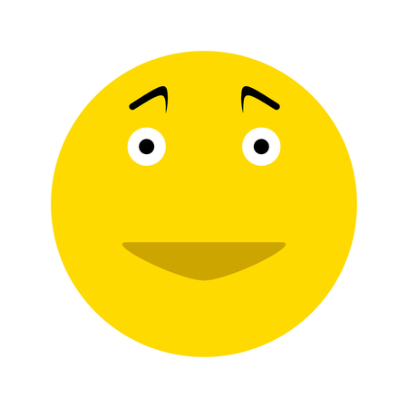 Happy smiley face emoticon icon, isolated on white background Illustration