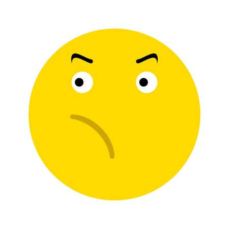 Icona di faccina frustrata, isolata su priorità bassa bianca Archivio Fotografico - 101058194