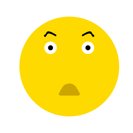 Cute Surprised Emoticon, isolated on white background Illustration