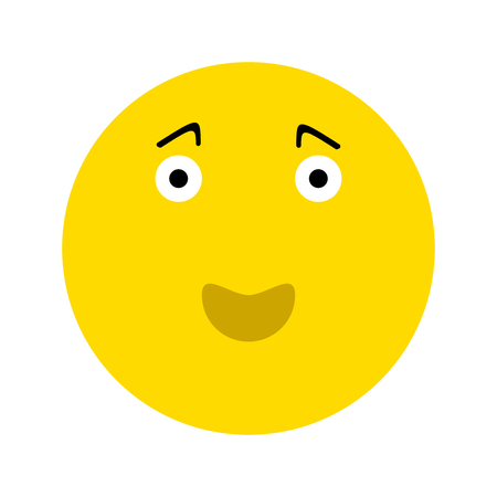 Happy smiley face emoticon icon, isolated on white background