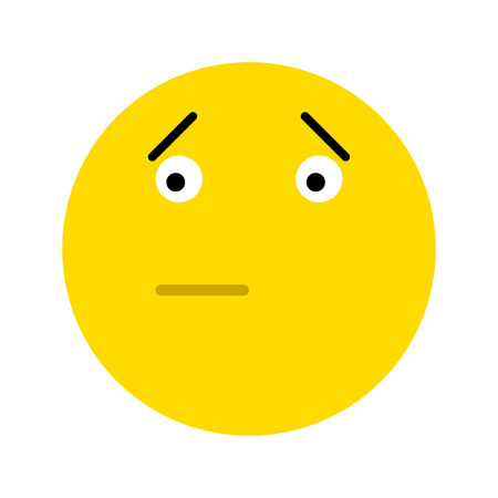 Frustrated smiley face icon, isolated on white background
