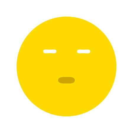 Emoticon expressing boredom or disapproval, isolated on white background Illustration