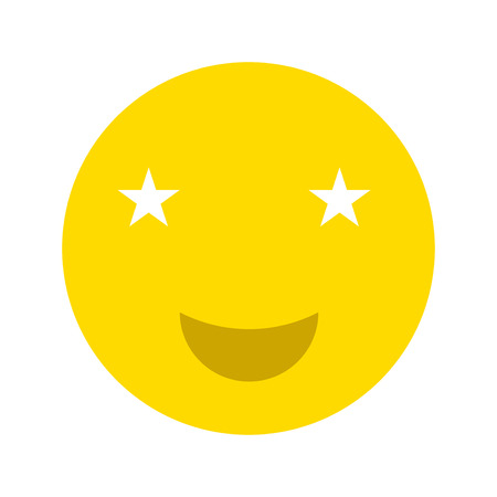 Happy smiley face emoticon icon, isolated on white background Illustration