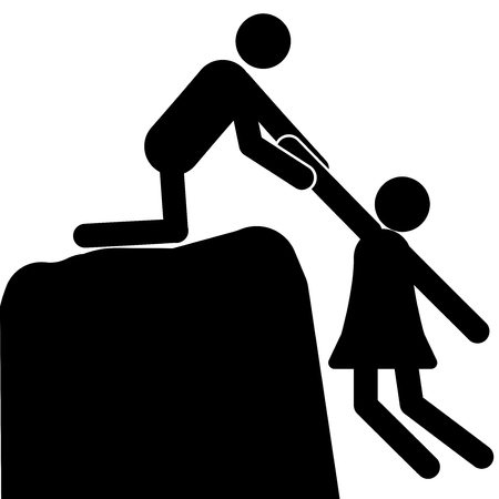 A man pulls a woman off the cliff Illustration