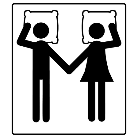 A married couple lies on the bed icon Illustration