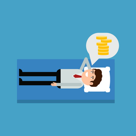 Businessman lying on a bed thinking about money, vector illustration on a blue background Çizim