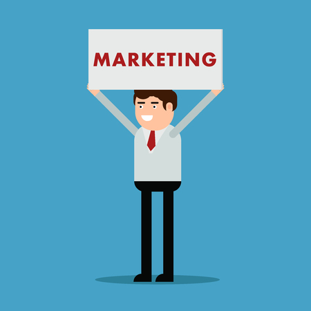 Businessman with a poster and an inscription marketing, vector illustration on a blue background
