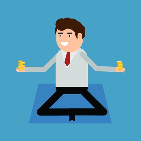 Businessman doing yoga, vector illustration on a blue background Stock Illustratie