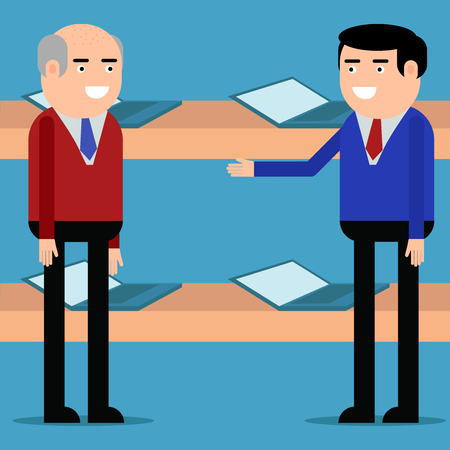 The seller offers laptops to the client on blue background