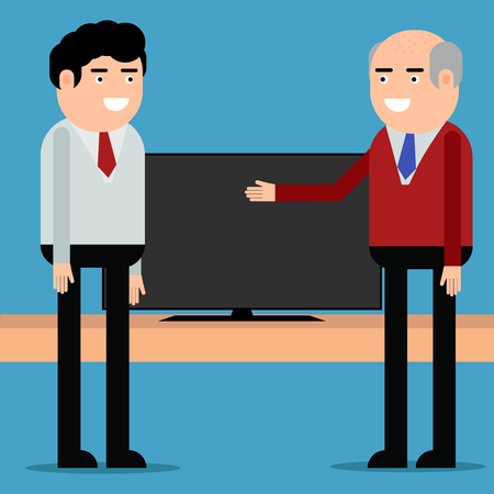 The seller offers the TV to the client on blue background