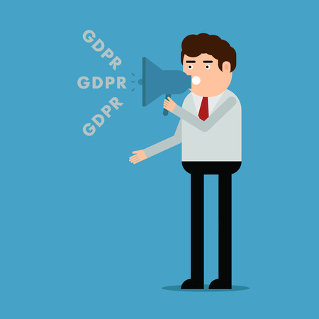The man talks about the GDPR, vector illustration on a blue background