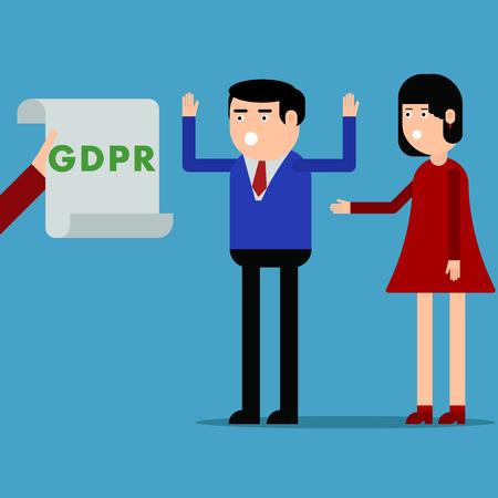 Notification of people about the GDPR, vector illustration on a blue background Illusztráció