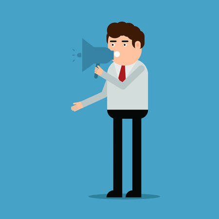 The man speaks in the loudspeaker, vector illustration on a blue background Vettoriali