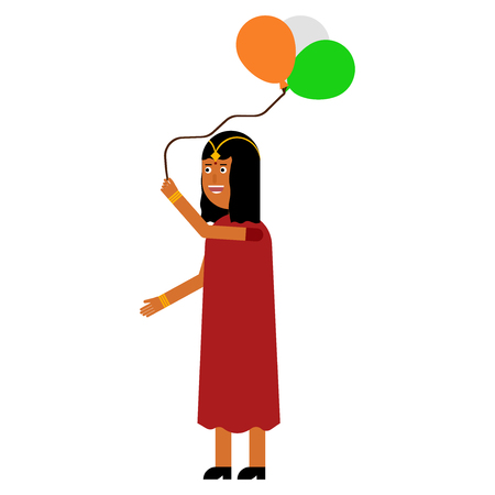 Indian girl holding balloons isolated on white background