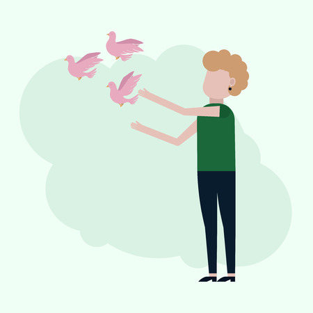 Girl releases pink pigeons, vector illustration on a turquoise background
