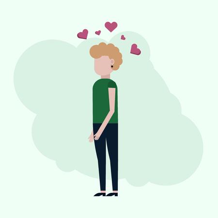 La niña piensa en el amor, ilustración vectorial sobre un fondo turquesa