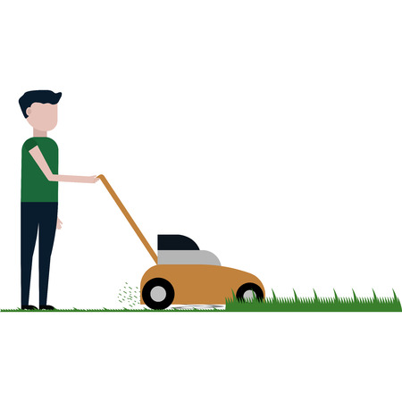 The man is cutting the lawn vector illustration on white background 일러스트