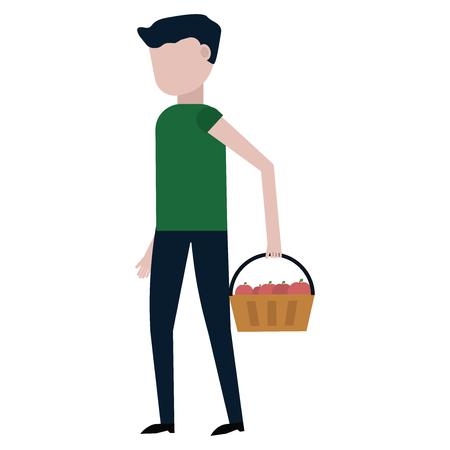 The guy is carrying a basket of apples vector illustration on white background Stock Illustratie