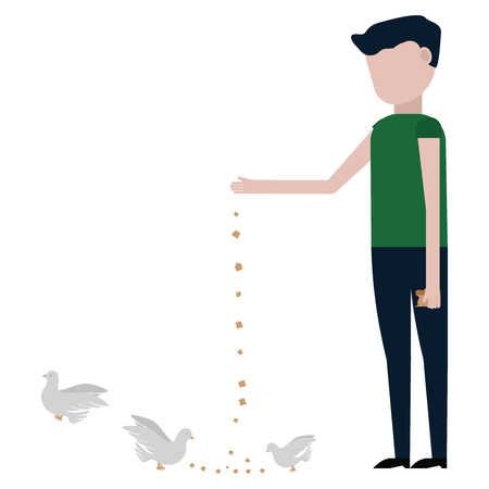 The guy feeds the pigeons vector illustration on white background