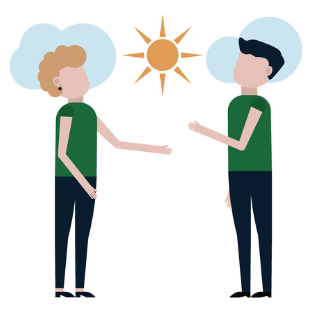 A guy and a girl are admiring the sunny day vector illustration on white background