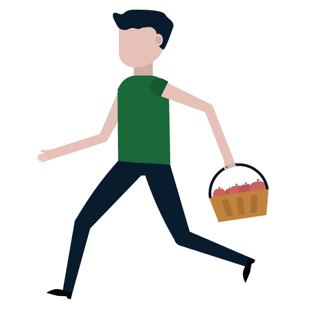 The guy is carrying a basket of apples vector illustration on white background Çizim