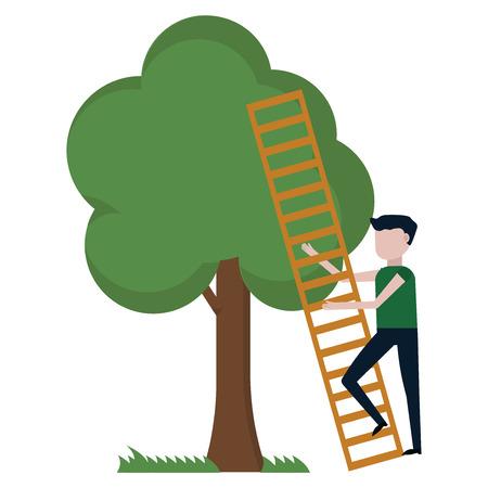 A guy climbs a tree vector illustration on white background Ilustración de vector