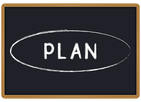 Word Plan written chalk on a blackboard vector illustration