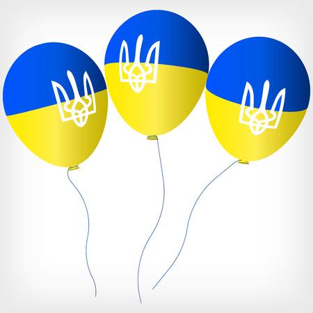 Helium balls with symbols of the Ukrainian flag, Blue yellow helium balls