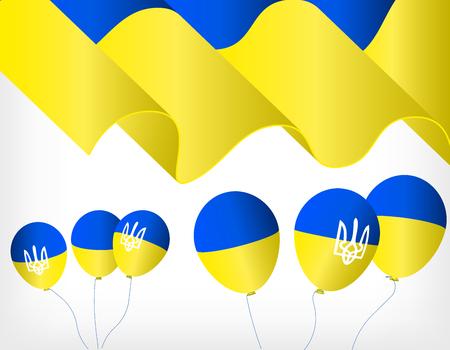 Bandera que agita de Ucrania, bolas de helio con símbolos de la bandera de Ucrania