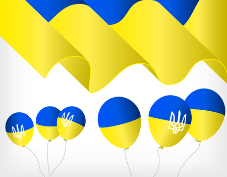 Ukrainian waving flag, helium balls with symbols of the Ukrainian flag Vectores