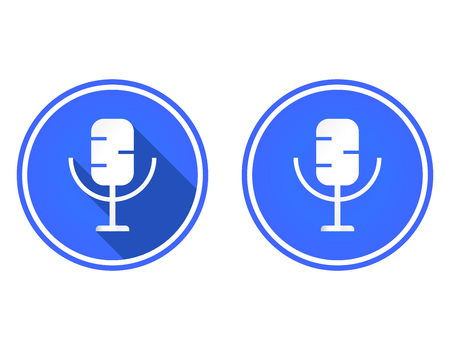 Microphone round flat icon, multimedia icon isolated on white background Vektorové ilustrace