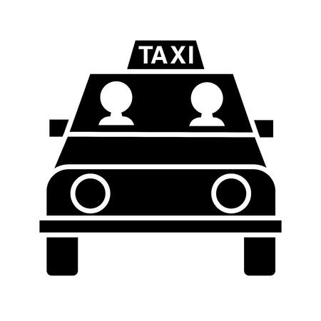 La gente va por el icono de glifo de taxi