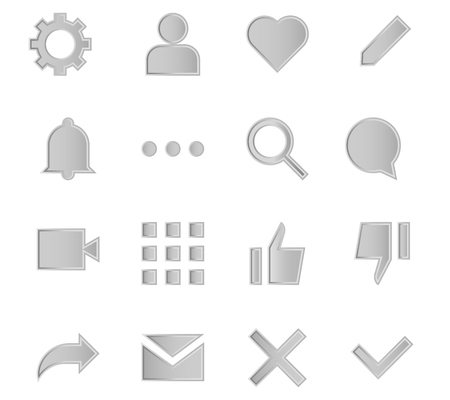 Interface metal icons for web and mobile app