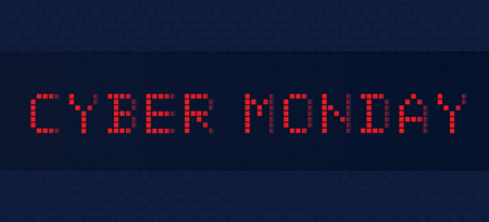 Banner Cyber Monday in pixel style, blue background