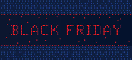 Banner Black Friday in pixel style, blue background