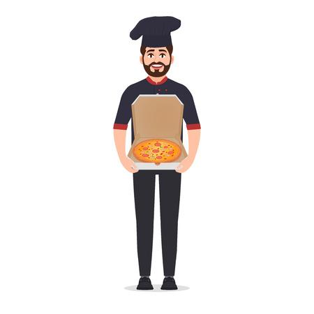 Il pizzaiolo tiene l'illustrazione di vettore della pizza isolata su fondo bianco, chef in giacca Vettoriali