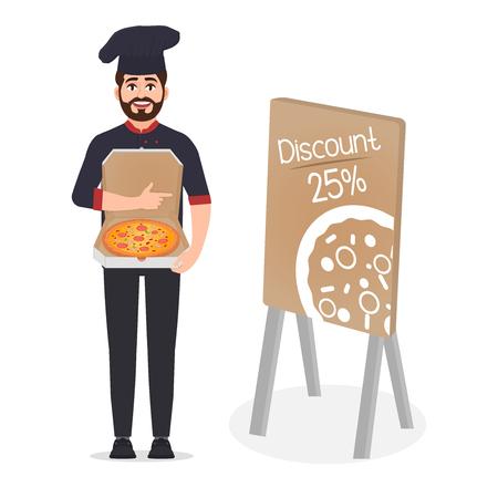 Il pizzaiolo tiene l'illustrazione vettoriale della pizza isolata su sfondo bianco, lo chef pubblicizza la pizza, sconto del 25 percento