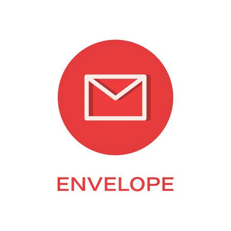 Envelope round flat icon, message symbol Ilustração