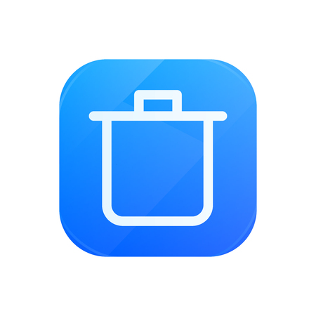 Bin glossy flat icon, remove and trash symbol Illustration