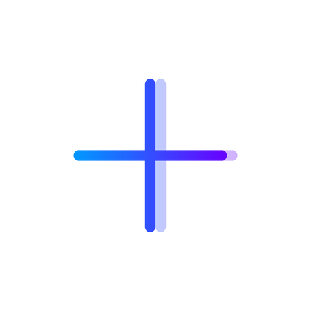 Plus blue purple gradient icon, add symbol Ilustrace