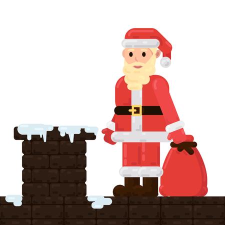 De kerstman staat op het dak met cadeautjes en probeert via de schoorsteen het huis binnen te komen