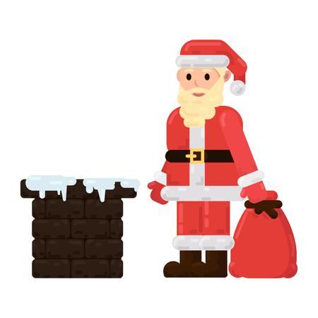 De kerstman staat op het dak met cadeautjes en probeert via de schoorsteen het huis binnen te komen Vector Illustratie